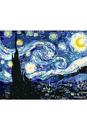 PlusHobby Yıldızlı Gece Sayılarla Boyama Seti 40x50 Cm Tuval 0