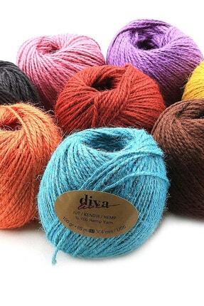 Diva İplik Renkli Jüt (kendir) Paket Ipi Turuncu 2