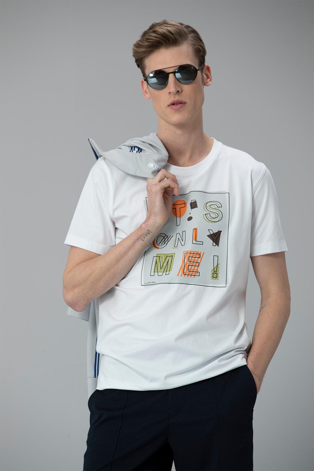Lufian Etax Modern Grafik T- Shirt Beyaz 0
