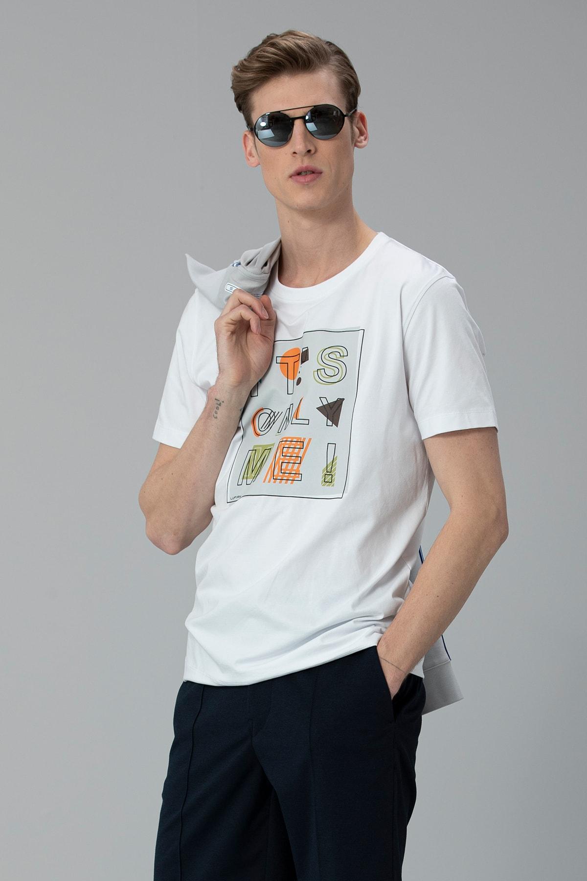Lufian Etax Modern Grafik T- Shirt Beyaz 3