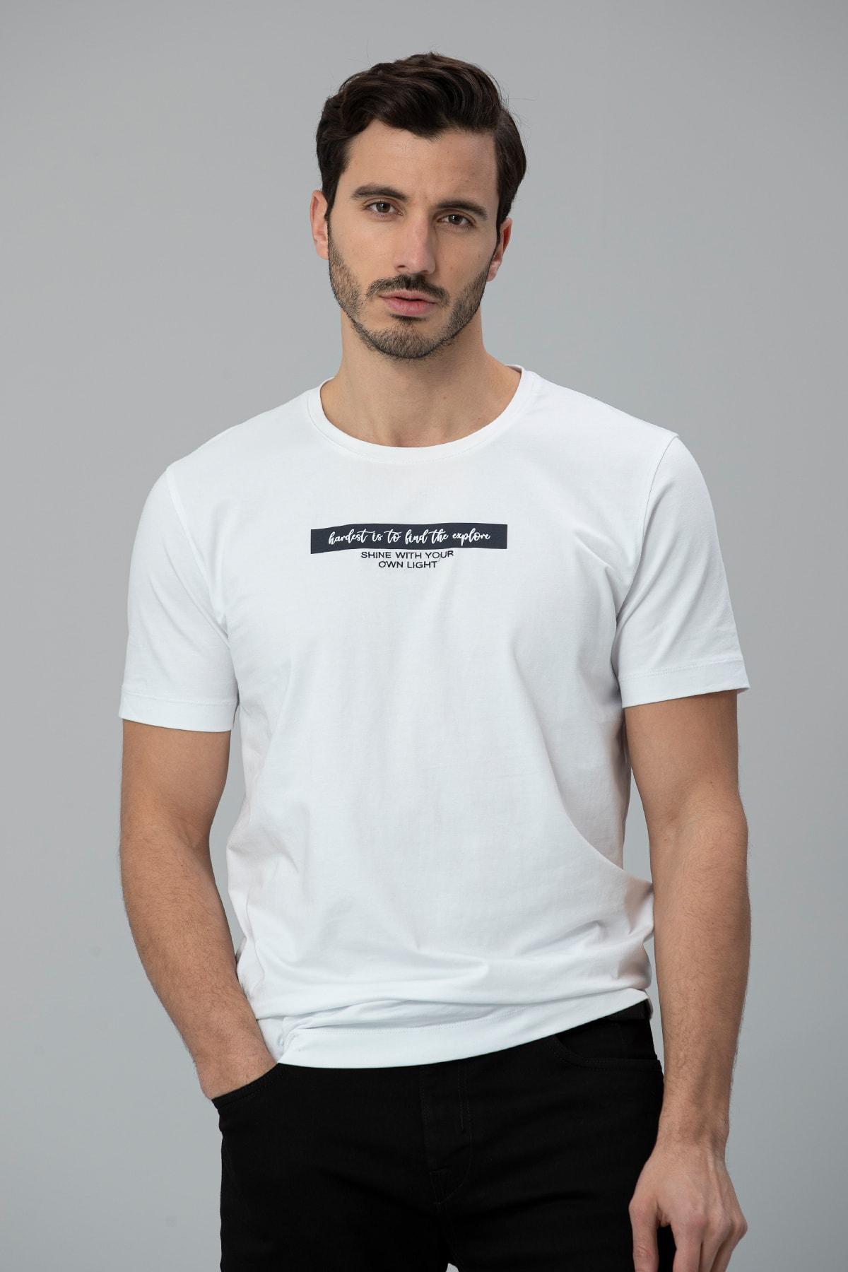 Lufian Rıck Modern Grafik T- Shirt Beyaz 0