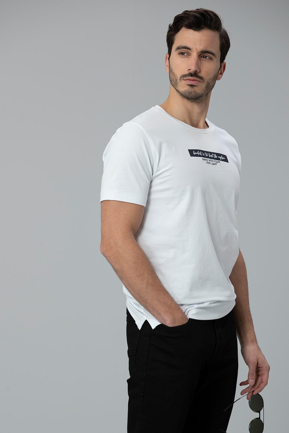 Lufian Rıck Modern Grafik T- Shirt Beyaz 1