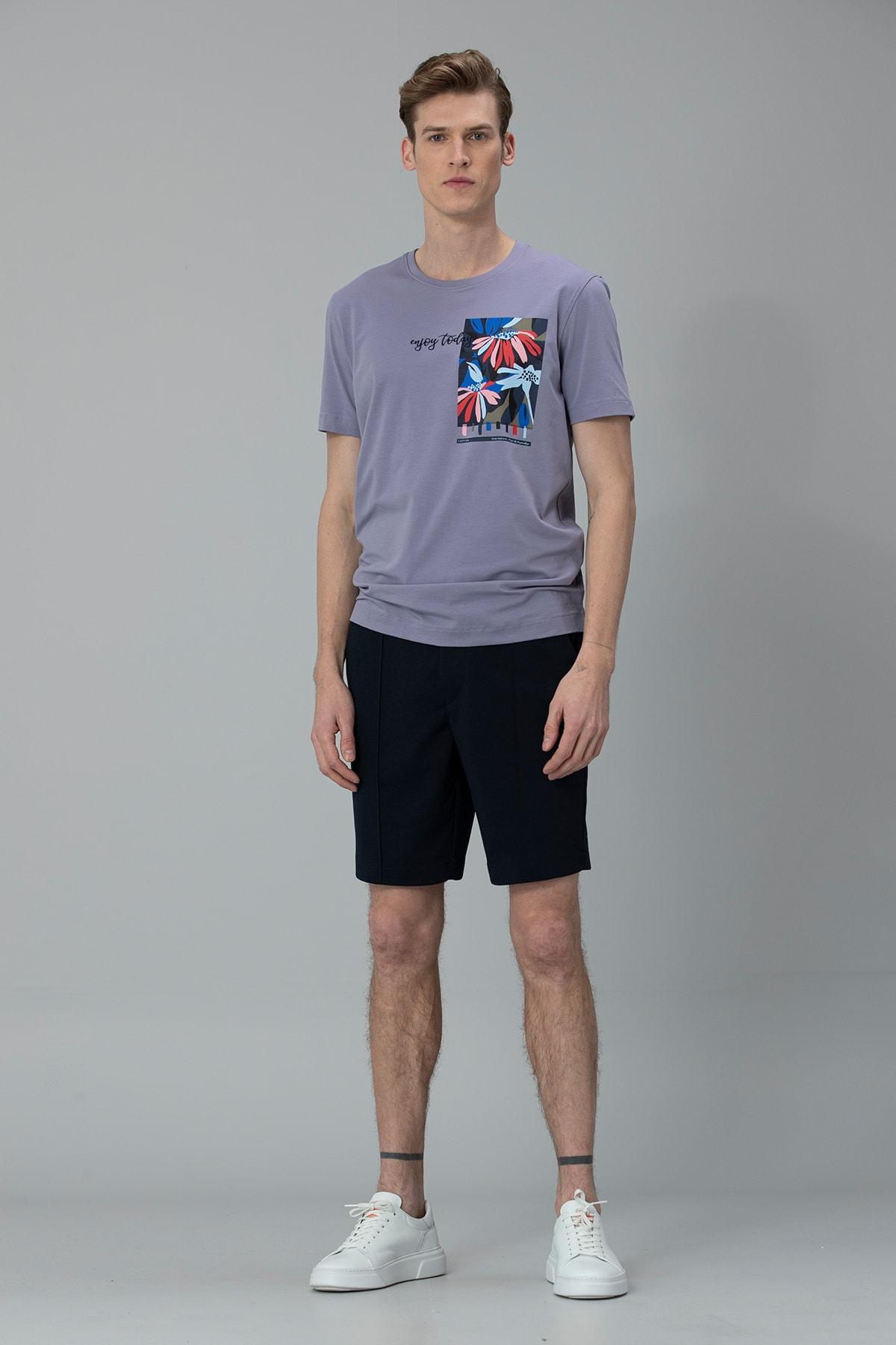 Lufian Nefer Modern Grafik T- Shirt Lila 3