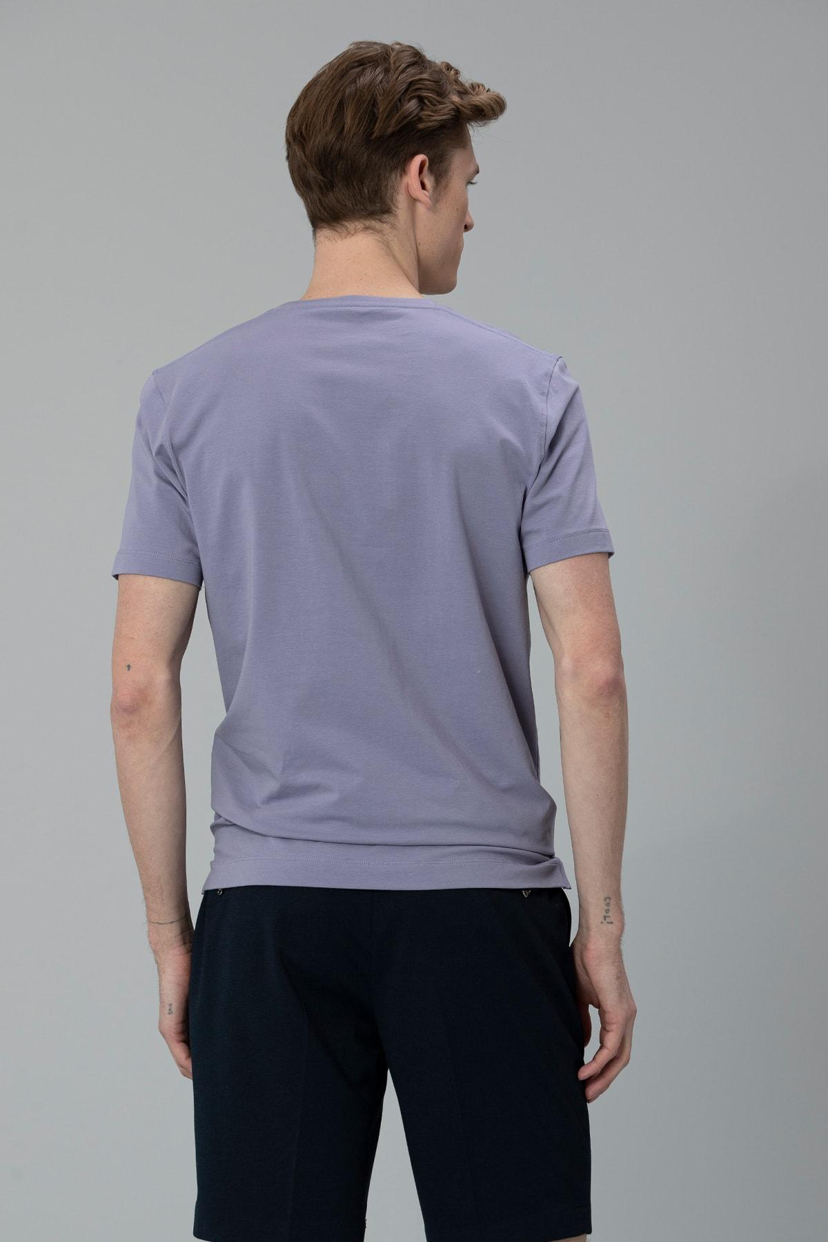 Lufian Nefer Modern Grafik T- Shirt Lila 4