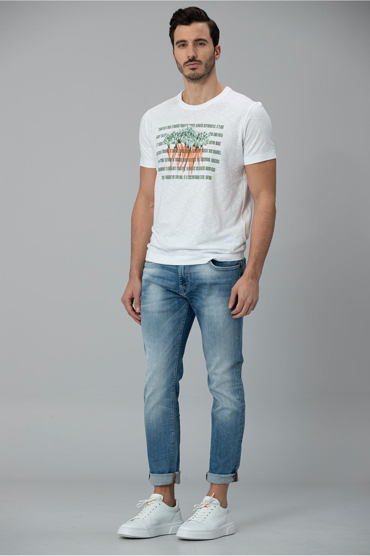 Lufian Gigest Modern Grafik T- Shirt Beyaz 0