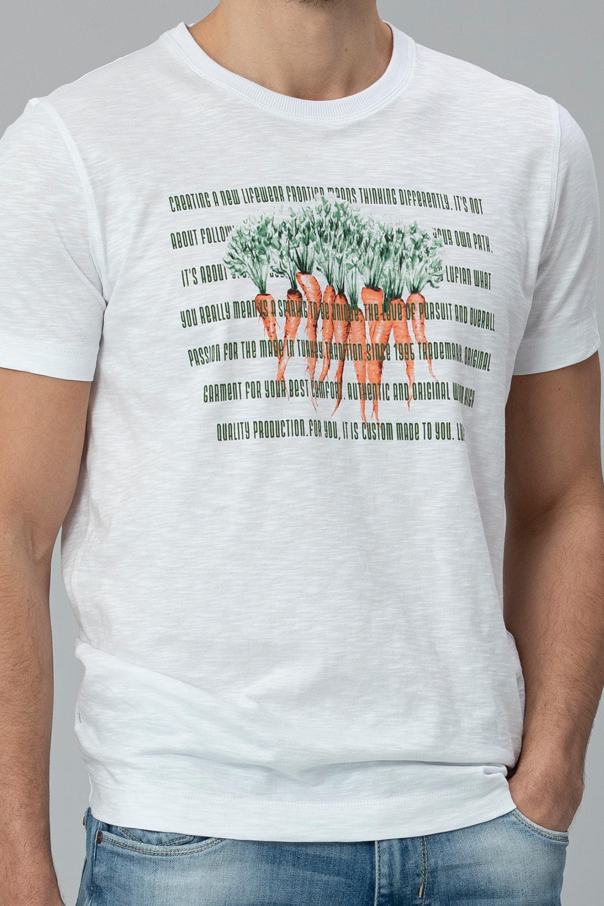 Lufian Gigest Modern Grafik T- Shirt Beyaz 1