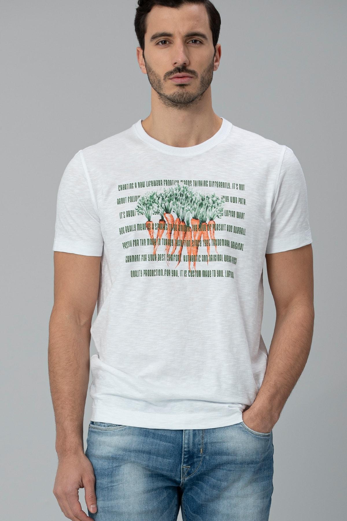 Lufian Gigest Modern Grafik T- Shirt Beyaz 2