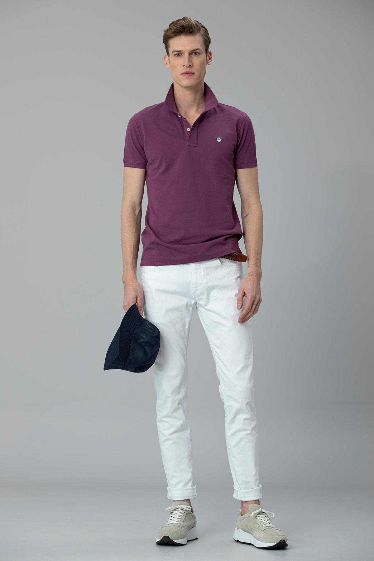 Lufian Laon Spor Polo T- Shirt Mor 3