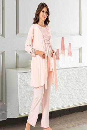 TAMPAP Kadın Pembe Lohusa Pijama Gecelik Takımı 0