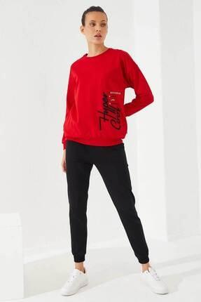 Tommy Life Kadın Kırmızı Siyah O Yaka Exclusive Manşetli Eşofman Takım 2