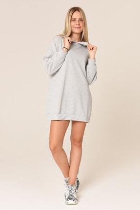 ARASCOM Kadın Düz Gri Cepli Kapüşonlu Uzun Oversize Salaş Sweatshirt 0