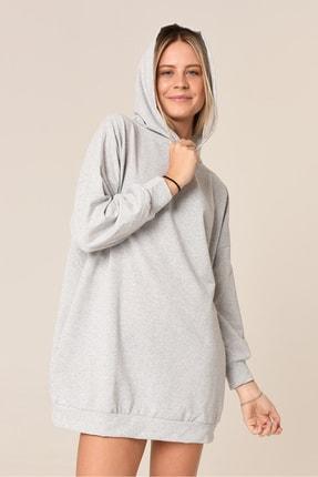 ARASCOM Kadın Düz Gri Cepli Kapüşonlu Uzun Oversize Salaş Sweatshirt 1
