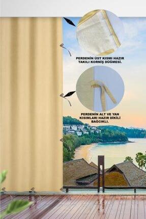 ALTINPAMUK 230x250 Balkon Perdesi Balkon Brandası Koyu Krem Bağcıklı 1