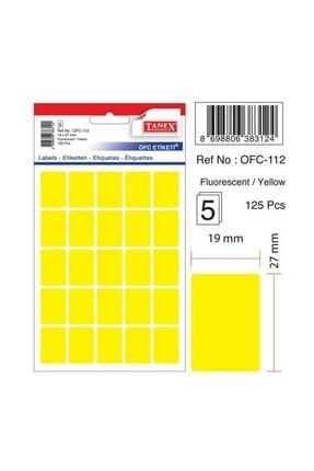 Tanex Ofc-112 Çıkartma Etiket 19x27 Mm Fosforlu Sarı 125 Li Paket 0