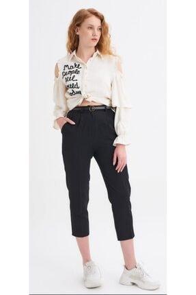 Quzu Kadın Siyah Kumaş Kemerli Pantolon 0
