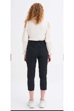 Quzu Kadın Siyah Kumaş Kemerli Pantolon 3