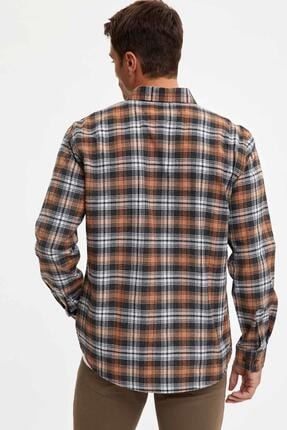 Defacto Erkek Kahverengi Ekose Uzun Kollu Modern Fit Gömlek 3