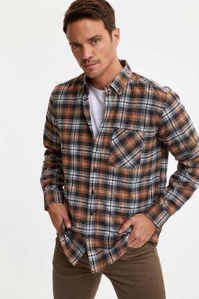 Defacto Erkek Kahverengi Ekose Uzun Kollu Modern Fit Gömlek 4