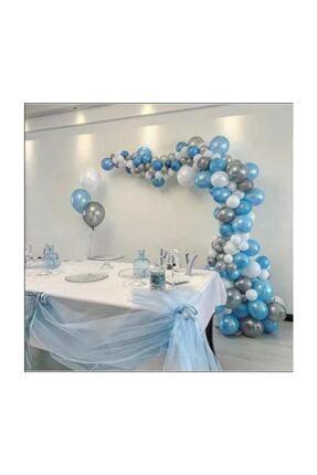 BalonEvi 50 Ad A.mavi-beyaz-gümüş Metalik Balon, 5 Mt Balon Zinciri , Parti Balon Seti 1
