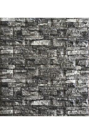 Renkli Duvarlar Nw60 Koyu Gri Taş Desen Kendinden Yapışkanlı Duvar Paneli 1