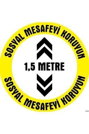 YKM TECNIART Sosyal Mesafe Etiketi 1,5 Metre Uyarı 20x20cm 0