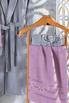 Zeynep Tekstil Arya 4 Parça Nakışlı %100 Pamuklu Bornoz Seti 2