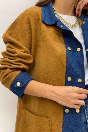 BEHİCE SAĞLAM Kadın Kahverengi Kot Detay Kaşe Ceket 1