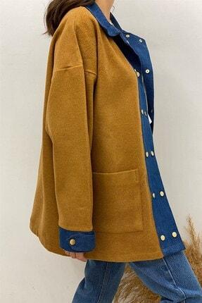 BEHİCE SAĞLAM Kadın Kahverengi Kot Detay Kaşe Ceket 3