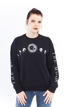 citycenterfashion Kadın Siyah Gezegen Sweatshirt Ctyabr8202 0