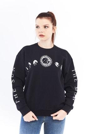 citycenterfashion Kadın Siyah Gezegen Sweatshirt Ctyabr8202 3