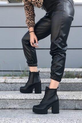 MİNAMİRA Kadın Siyah Platform Topuklu Bot 0