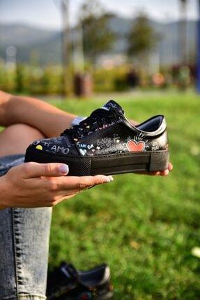 MİNAMİRA Kadın Siyah Baskılı Sneaker 1
