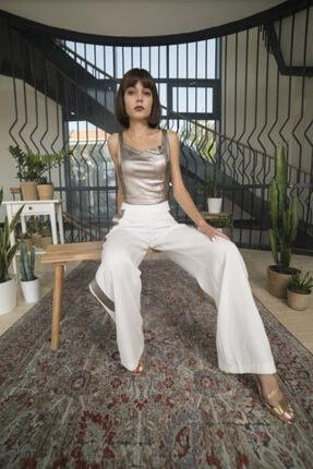 OPIA FASHION Kadın Beyaz Parlak Şeritli Bol Paça Pantolon 1