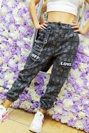 Fivi Butik Kadın Ekose Kumaş Off Love Pantolon 3