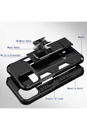 BizimGross Lacivert Apple Iphone 12 Pro 6.1 inç Zırh Yüzüklü Standlı Kılıf 3