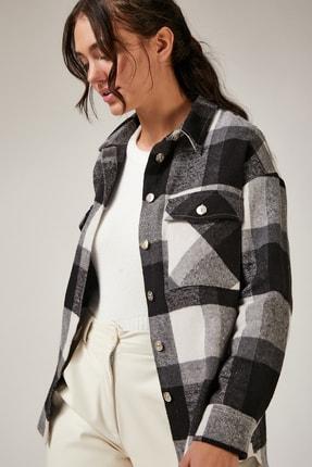 Happiness İst. Kadın Siyah Kareli Yünlü Ceket Gömlek DD00744 1