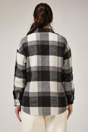 Happiness İst. Kadın Siyah Kareli Yünlü Ceket Gömlek DD00744 2