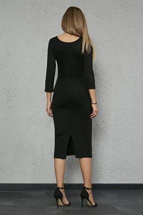 Sateen Kadın Siyah Uzun Kol Midi Kalem Elbise 3