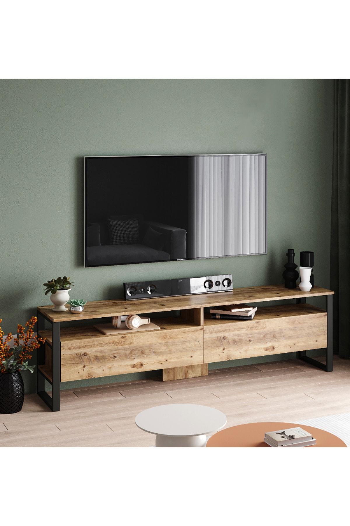 ML19 Iron Metal Tv Ünitesi Tv Sehpası 2 Kapaklı 180cm