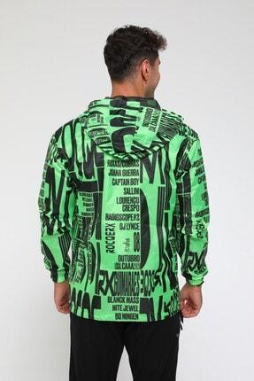 Rocqerx Erkek Yeşil Dijital Baskılı Yağmurluk Rüzgarlık 1