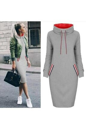 JANES Kadın Gri Cep Detay Geniş Balıkçı Yaka İki Iplik Kumaş Elbise 90cm 0