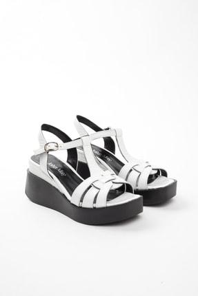 John May Kadın Beyaz Rugan Sandalet Po-012 20568 1