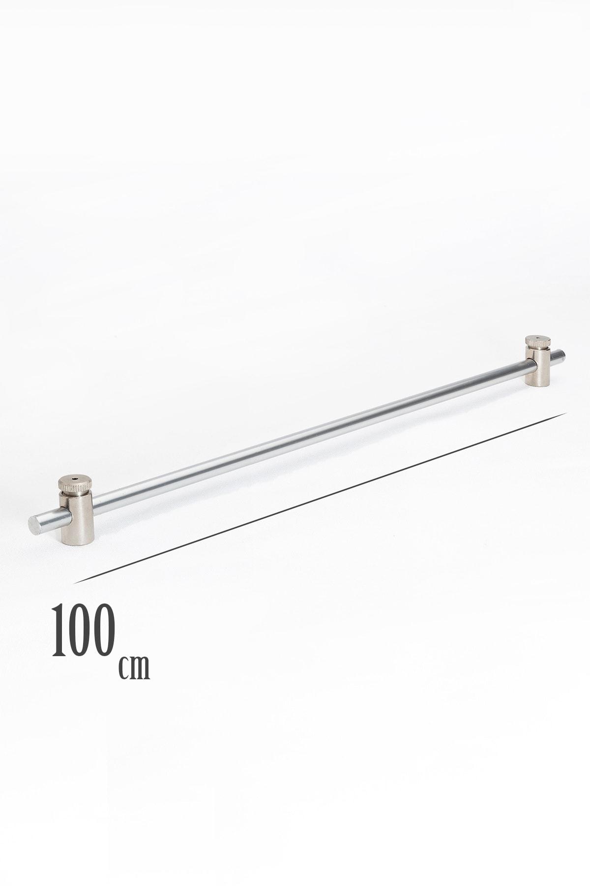 100 Cm Metalik Gri Rustik 1 Adet Briz Çubuk 2 Adet Başlık