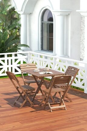 Meya Dekor Balkon - Bahçe 5'li Katlanabilir Bistro Set 4 Sandalye 1 Bahçe 60x80 Cm Masa 2
