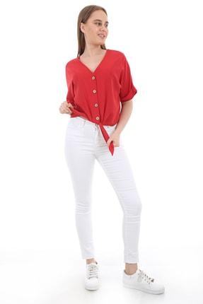 Bigdart Kadın Kırmızı Tahta Düğme Bağlamalı Bluz 3679bgd19_006 1