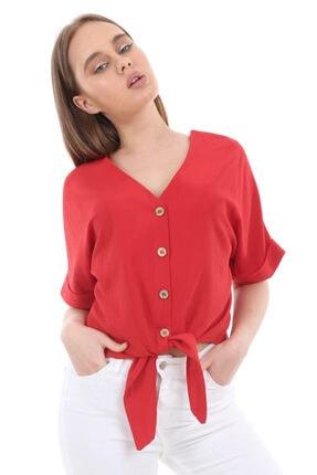 Bigdart Kadın Kırmızı Tahta Düğme Bağlamalı Bluz 3679bgd19_006 2