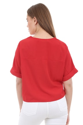 Bigdart Kadın Kırmızı Tahta Düğme Bağlamalı Bluz 3679bgd19_006 3