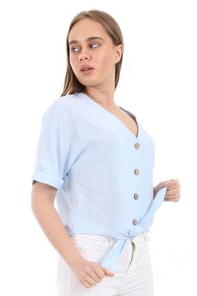 Bigdart Kadın Mavi Tahta Düğme Bağlamalı Bluz 2