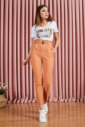 Picture of Kadın Tarçın Yüksek Bel Kemerli Havuç Pantolon