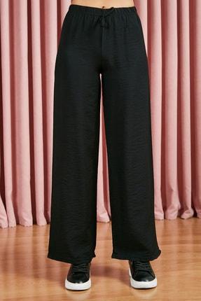 Sateen Kadın Siyah Beli Lastikli Bol Paça Pantolon 2